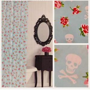 Betsey Johnson Blue Rose Rebellion Shower Curtain